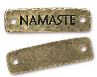 NAMASTE Link by TierraCast - Antique Brass Oxide Bronze Leather Findings Rivetable Focal Bar Link Yoga Charms for Meditation Jewelry (PF754)