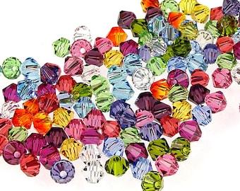 144 4mm Swarovski Bicone Beads - 12 Color Rainbow Mix Assortment - Swarovski Crystal Beads 4mm Bicones 5301 5328 Starter Color Collection