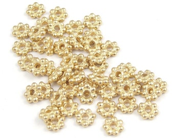 Antique Gold Spacer Beads Made in USA \u2013 TB3 TierraCast Heishi Spacers Small Hexagon Beads 5mm Gold Heishi Beads Faceted Heishi Beads