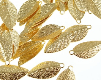 for wedding /& everyday jewelry lightweight leaves 144 Gold leaf charms 15mm long w1mm holes plated brass pendants  H22a-144 144pack