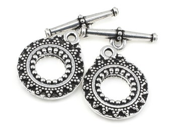 Light Antique Pewter Toggle Findings Silver Toggle Clasp Findings TierraCast HEIRLOOM Clasp Set Bracelet Clasp Necklace Closure Bali P1412