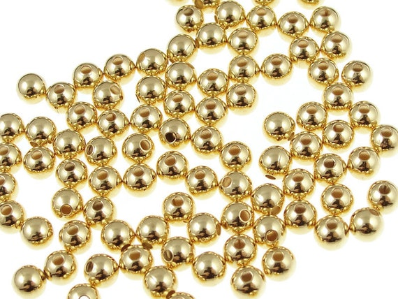 100 Antiqued Gold Plated Brass 6mm Cut Out Round Beads