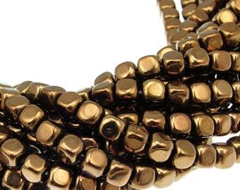 50 DARK METALLIC BRONZE Cube Beads - 5mm x 5mm Czech Glass Beads - Shiny Chocolate Brown Beads - Glass Beads