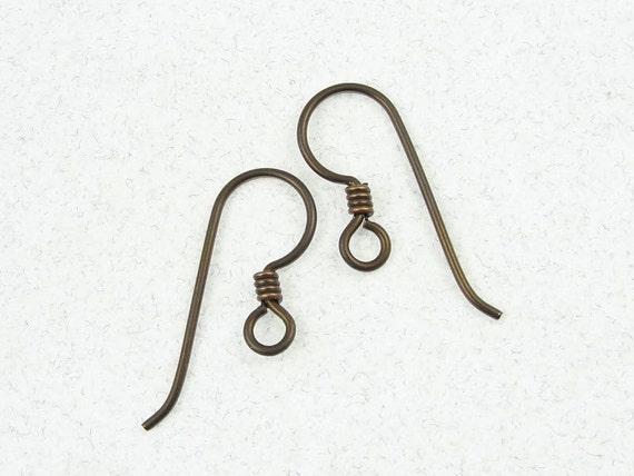 Antique Brass Niobium Ear Wires Regular Loop Hypoallergenic 4 Pieces