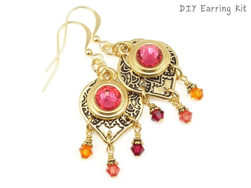 Do It Yourself Jewelry: Gold Earrings Kit DIY Jewelry Kit Do It Yourself Earrings