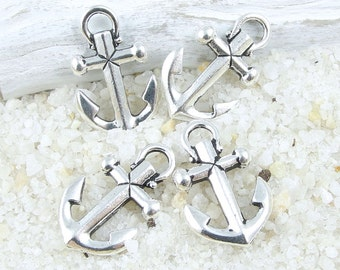 TierraCast Anchor Charms - Antique Silver Charms - Nautical Ocean Sea Charms for Beach Jewelry (P1111)