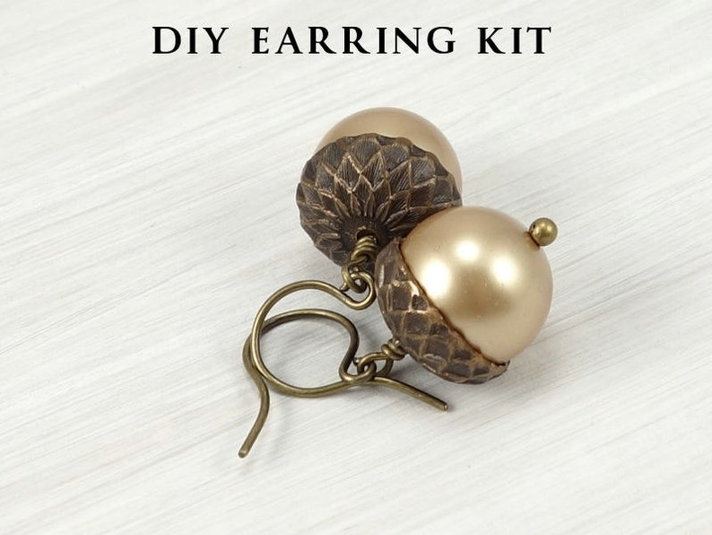 DIY KIT Acorn Kit Earrings with Vintaj Natural Brass and image 0