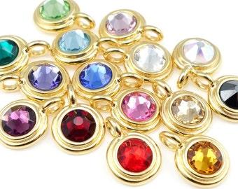 Gold Birthstone Charms Birth Stone Pendants TierraCast Minimalist Pendant Birthstone Pendants with Swarovski Crystal Gold Charm Gold Pendant