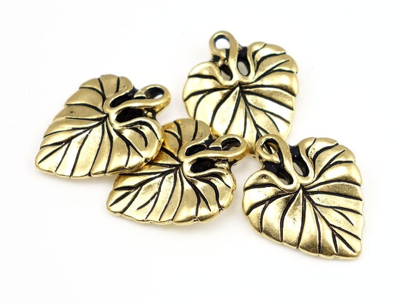 P338 Gold Leaf Charm TierraCast VIOLET LEAF Drop Antique Gold Charms 20mm Gold Leaves Tierra Cast Pewter Autumn Beads Fall Charms