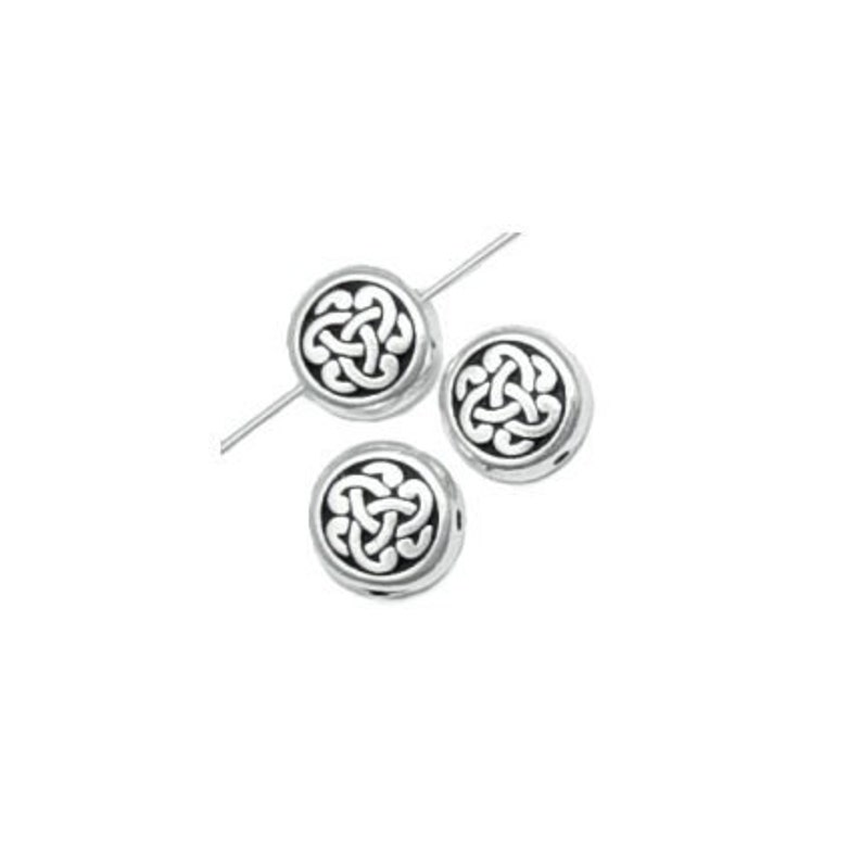 Silver Celtic Beads P381 Antique Silver Beads Celtic Triad Knotwork Knot Work Beads TierraCast Pewter Silver Metal Beads