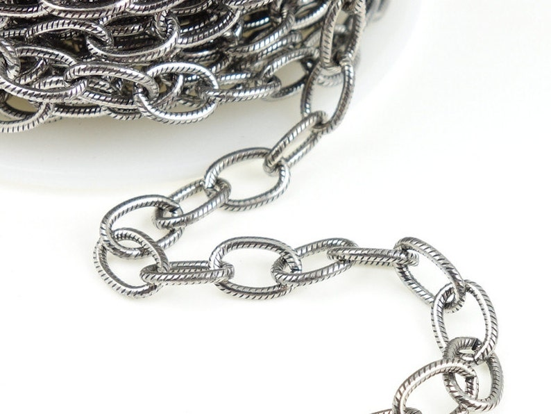 25 Foot Spool Heavy Link Chain w 6mm x 9mm Embossed Open Links Dark Antique Silver Chain Large Cable Chain Charm Bracelet Chain 20-0325-12