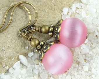 DIY Earring Kit Craftable DIY Antique Brass Earrings Cats Eye Jewelry Pink Earrings or Custom Color Vintage Style Jewelry Kit