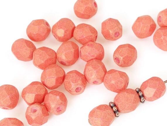 Chestnut Coral 25 6mm Czech Glass Firepolish Beads