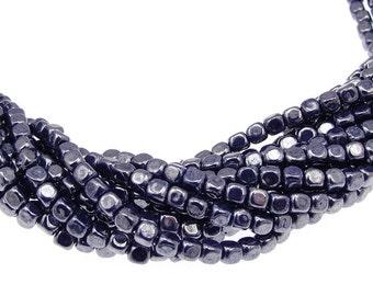 100 4mm Cube Beads LUSTER OPAQUE NAVY Dark Blue Midnight Blue Czech Glass Beads - Czech Beads - String of 100 4mm Beads