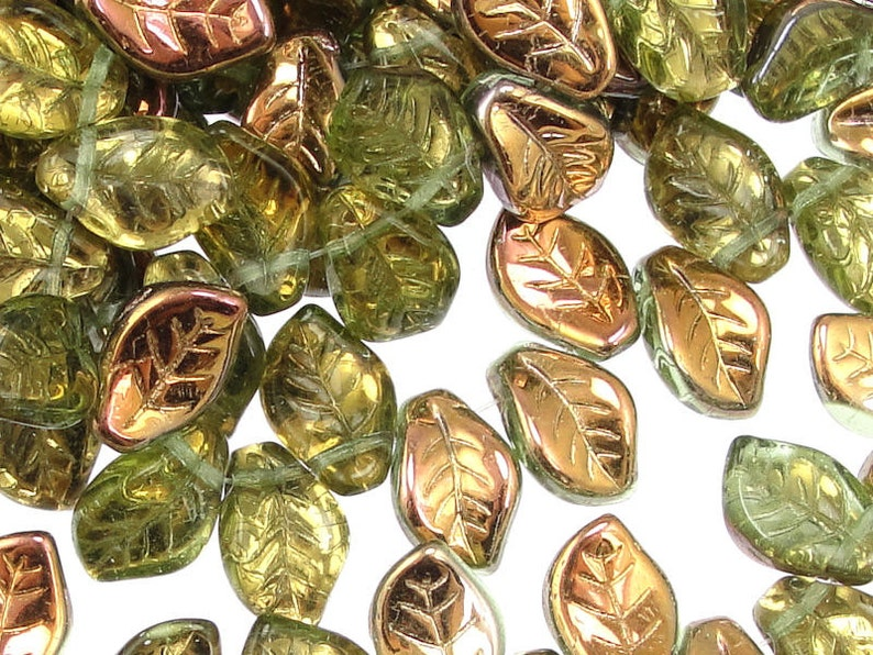 25 Light Green Leaf Beads  14mm x 9mm Czech Glass Leaves  image 0