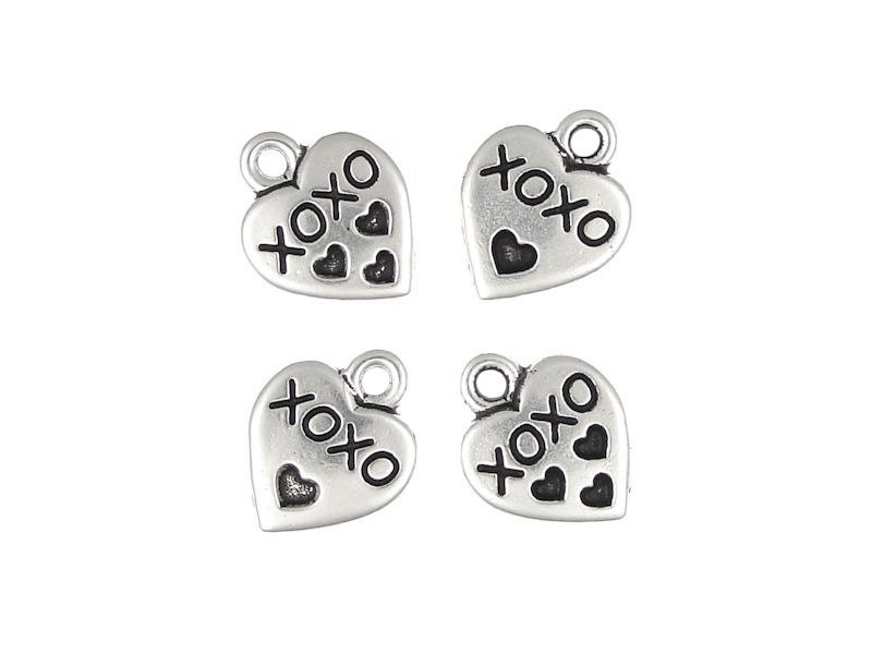 P111 Silver Heart Charms XOXO Hugs and Kisses Charms TierraCast Pewter Heart Drops Antique Silver Charms
