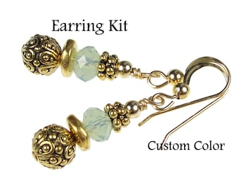 Gold Earrings KIT - Desiree Earrings DIY Kit in Gold - Custom Swarovski Crystal Color Do It Yourself Jewelry