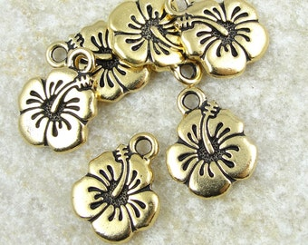 Hibiscus Charm Gold Charms TierraCast Flower Charms Hawaiian Summer Tropical Small 17mm x 14mm Antique Gold Pendant Floral Drop Beach (P787)
