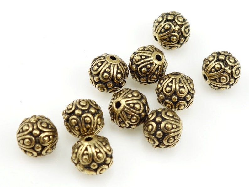 Gold Beads TierraCast CASBAH Antique Gold Bali Beads Gold Bali image 0