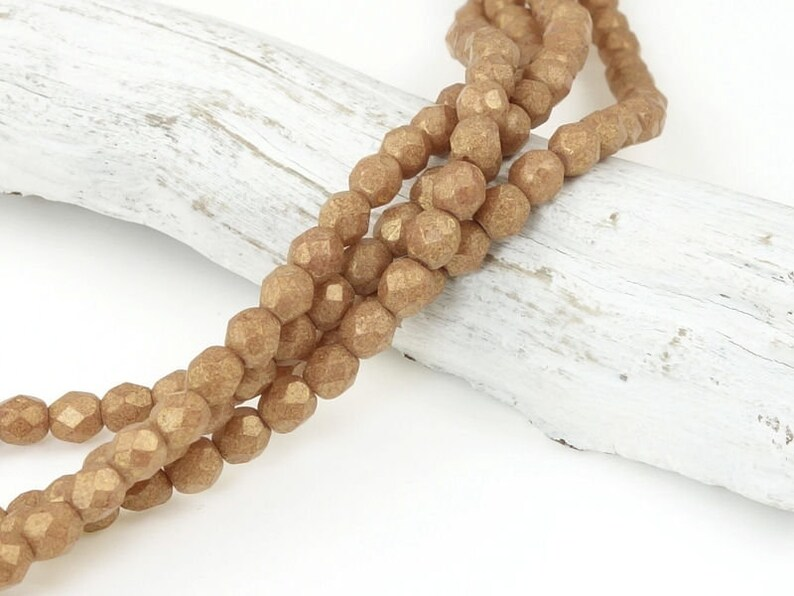Dark Tan Autumn Fall Colors 50 4mm Firepolish Beads PACIFICA MACADAMIA 4mm Faceted Czech Glass Beads Opaque Medium Brown Beads