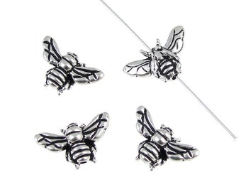 20 Honeybee Beads Antique Silver Honey Bee Beads Insect Summer Spring Bug Beads BULK BAG (P129)