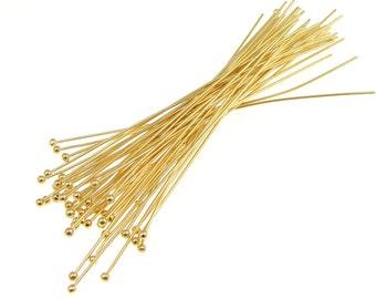 "48 Gold Ball Pins 3"" Gold Plated Ball Head Pins 21 Gauge 21 g 3 Inch  Ballpin Headpin Findings"