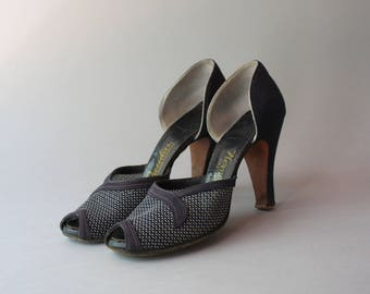 c9703ab24059be 1940s Shoes   Vintage 30s 40s Navy Blue Peep Toe Heels   1930s Mesh Peeptoe  Tweedies High Heels 6.5 narrow AAAA