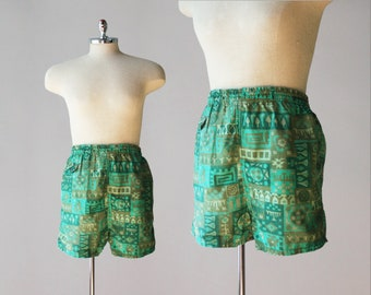4b55571969 1950s Vintage Swim Trunks / 50s MCM Print Beard & Co. Cotton Swimming Shorts  L sz 38