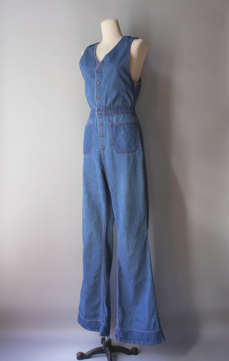 1970s Denim Jumpsuit  70s Vintage Flare Leg High Waist Sleeveless Coverall Overall Jumpsuit
