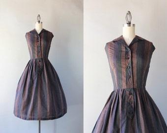1950s Dress / Vintage 50s Printed Cotton Day Dress / 50s Dark Stripe Pleated Dress