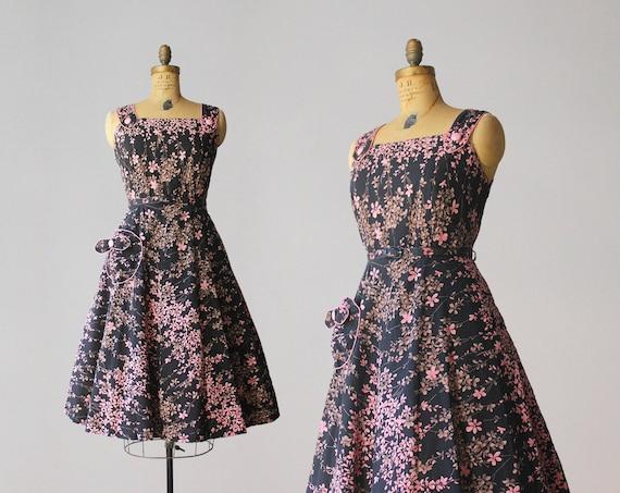 1950s Vintage Dress / 50s Black and Pink Cotton Fl