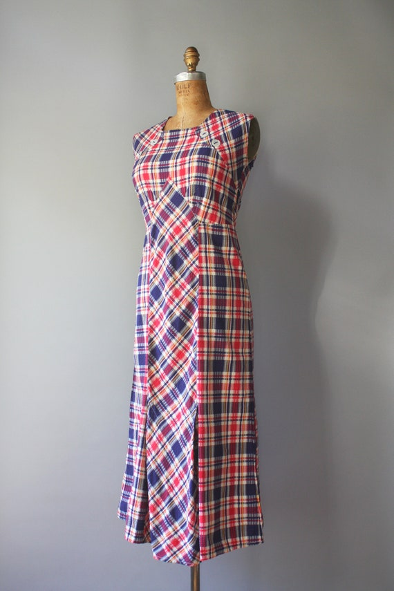 1930s Dress / 1930s Vintage Primary Plaid Cotton … - image 4