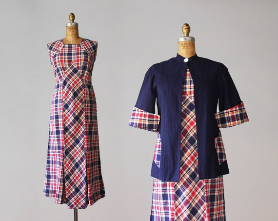 1930s Dress / 1930s Vintage Primary Plaid Cotton D