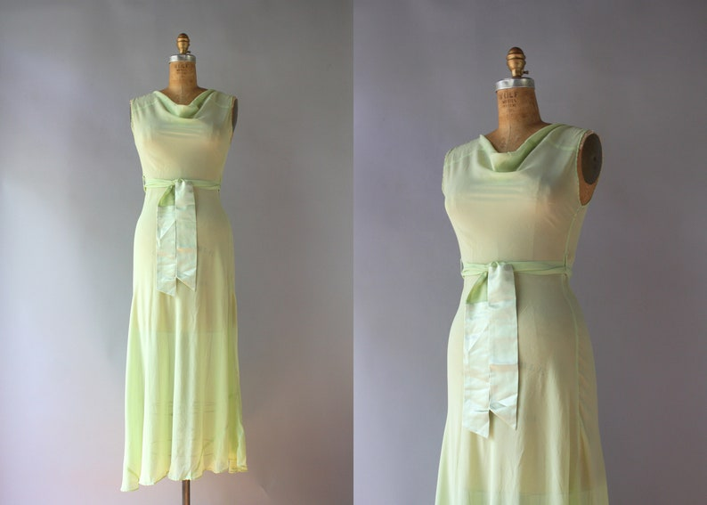 64741168270 1930s Gown   Vintage 30s Sheer Silk Chiffon Cowl Neck Dress
