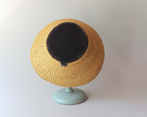 1950s Hat / 50s Vintage Straw Lampshade Summer Hat - image 5