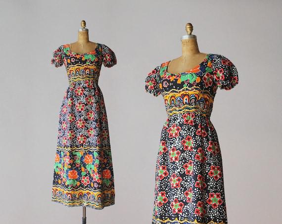 1960s Malcolm Starr Maxi Dress / 60s Vintage Print