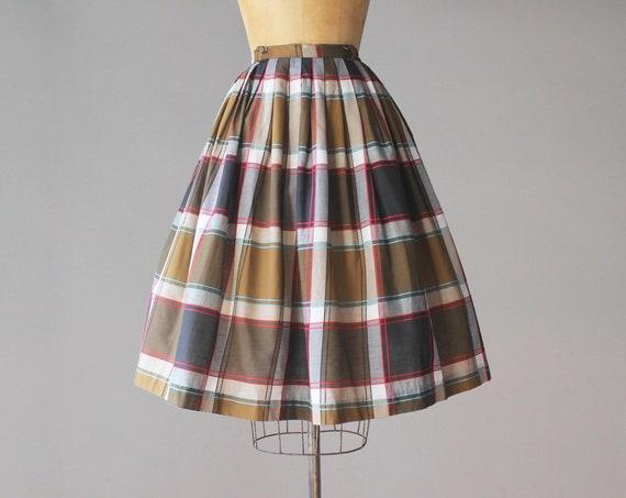 1950s Vintage Skirt / 50s Classic Plaid Cotton Ful