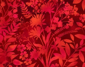 Aflutter Wildflower and Fern Silhouettes Red Studio E Fabric