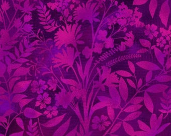 Aflutter Wildflower and Fern Silhouettes Purple Studio E Fabric