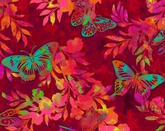 Butterflies Aflutter and Fern Red Studio E Fabric