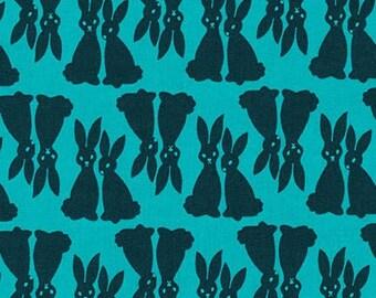 Rabbits Jade Black Sweethearts Kaufman Fabric 1 yard