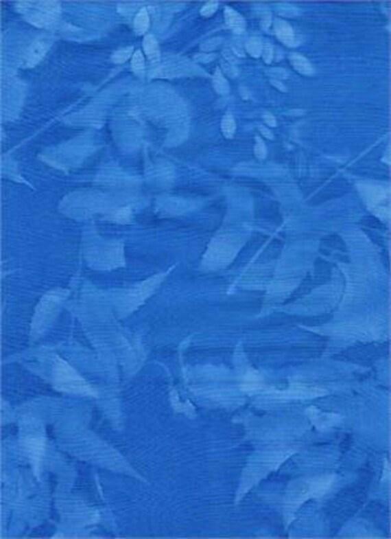 Bali Sun Print Blue Leaf Batik Textiles Fabric Etsy