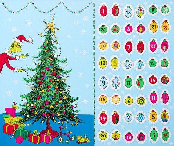 How the Grinch Stole Christmas advent calendar fabric panel
