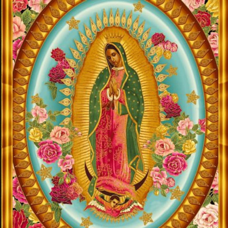Virgin Mary Our Lady of Guadalupe Kaufman Fabric Panel image 0