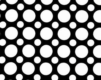 Polka Dots Spot On Black and White Kaufman Fabric 1 yard