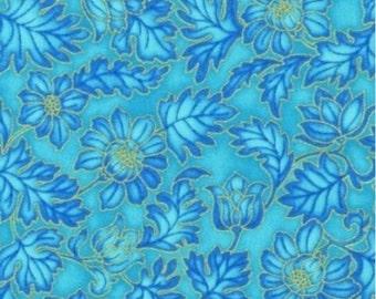 Grandeur Floral Teal Gold Metallic Robert Kaufman Fabric 1 yard