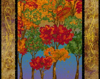 Trees Metallic Changing Seasons Fabriquilt Fabric Panel