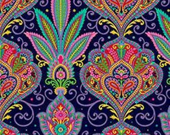 Imperial Paisley Navy Blue Quilting Treasures Fabric 1 yard