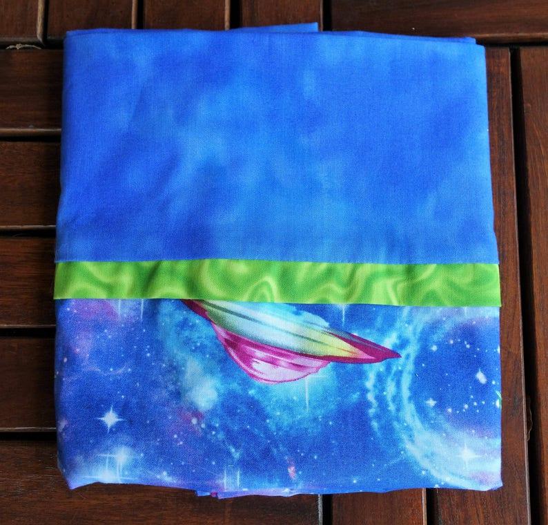 UFO Galaxy Space Blue Cotton Pillowcase Standard Size