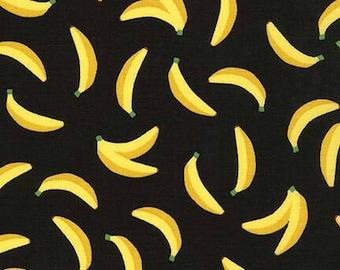 Bananas Black Sevenberry Mini Print Robert Kaufman Fabric
